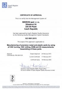 Quality certificate ISO9001